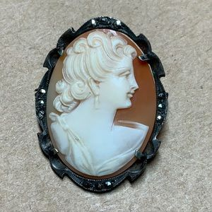 Vintage Carved Shell Cameo Brooch 800 Silver Brooc